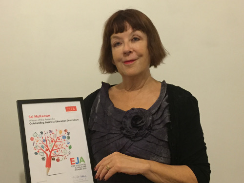 Sal with CIPR Outstanding Business Education Journalism award