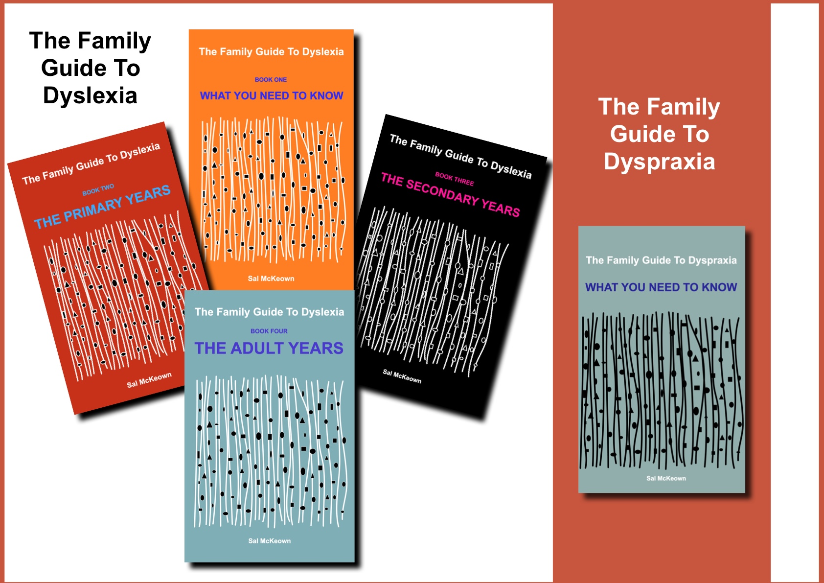 Five book covers: The Family Guide to Dyslexia (book one - what you need to know, book two - the primary years, book three - the secondary years, book four - the adult years), and the Family Guide to Dyspraxia (one volume: what you need to know)